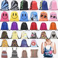 Men Women Kid Casual Backpack Gift Bag Gym Sport Travel PE Swim Drawstring  Pack