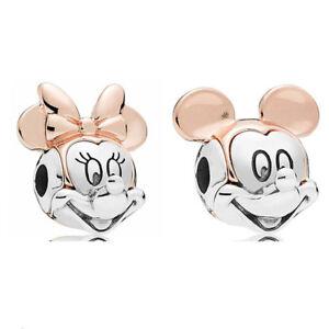 Disney Rose Two Tone Mickey Minnie Silver Charm Beads for European Bracelets