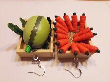 Ohrringe Holzkiste mit Wassermelonen Karotten Handgemacht  2800