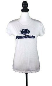 PENN STATE Nittany Lions Women's White T-Shirt Sz LARGE Textured Cotton Short Sl