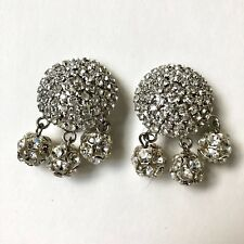 Vintage Rhinestone Clip On Runway Earring Ellen Designs Round Drop Luxury Silver