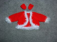 "Pretty red & white cardigan for Baby Annabell or similiar size doll 17""-19"" doll"