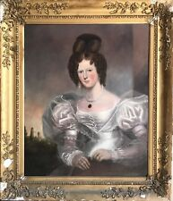 1830'S ENGLISH PORTRAIT FASHIONABLE LADY FROM READING - VERY LARGE OIL PAINTING