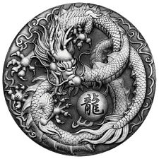 2 Oz onzas de plata Antique Finish Dragon dragón Tuvalu 2017 Silver
