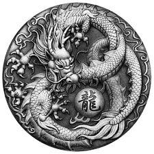 2 Oz Unzen Silber Antique Finish Dragon Drache Tuvalu 2017 Silver ounce