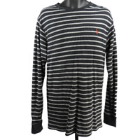 U.S. POLO ASSN. Gray & Black Striped Long Sleeve Thermal Shirt Men's Size XL