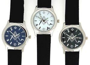 New Masonic Freemason Square And Compass Quartz Leather Band Wrist Watch
