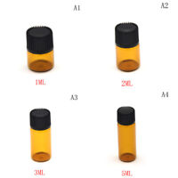 5pcs 1/2/3/5ml Small Cute Glass Vials Bottles brown Containers With Screw Cap ..
