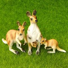 3pcs Kangaroo Family Miniature Fairy Garden Terrarium Figurine Home Decor Toy