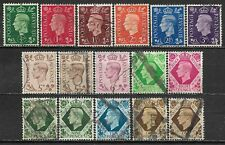 1937-1939 GREAT BRITAIN Set of 16 Used Stamps (Scott # 235-240,242-246) CV $11.1