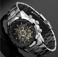 Herren Uhr Skeleton Armbanduhr Edelstahl Self-Wind Up Mechanical Automatic Watch