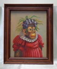 Monkey in Red Dress & Grape Headdress Oil Painting in Wooden Vintage Style Frame