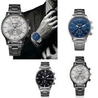 Mode Casual Herren  Kristall Uhr Stainless Steel Analoge Quarz Round  Armbanduhr