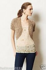 New Anthropologie Cabled Shimmer Bolero Size Sz L Large  Cardigan Brown