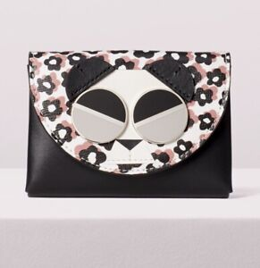 KATE SPADE Spademals Gentle Panda Cardholder Wallet Case Leather PWRU7186 NWT