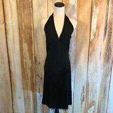 Necessary Objects Black Halter Dress Pleats Marilyn Cocktail Zip sz M $78 NWT!