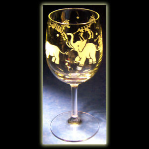 African Plains Animal Safari Wildlife Art Wine Glass