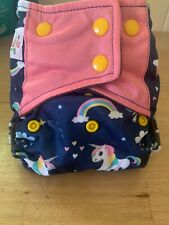 Oh! BabyKa! Modern Cloth Nappy OSFM MCN Navy Unicorn Print