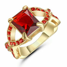 Size 7 Lady's Square Red Ruby 10kt Yellow Gold Filled Cross Wedding Ring