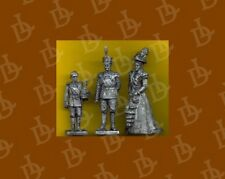 = 54mm scale metal non-painted THREE FIGURES (Last Russian tsar's crown family)=