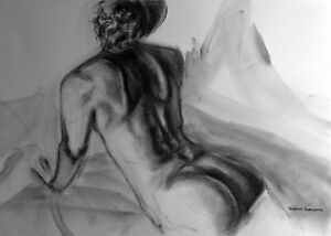 Nude Female Original Charcoal Drawing Naked Woman Laying on Stomach Bedroom BIN