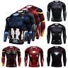 Mens t shirt compression top gym superhero avengers marvel muscle superman Shirt