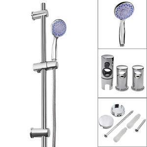 Modern Shower Slider Riser Rail Bar Kit Chrome Head Hose Holder Sets Adjustable