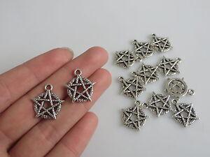 20pcs Tibetan Silver Pentagram Star Charm Pendants Jewelry Findings 17mm
