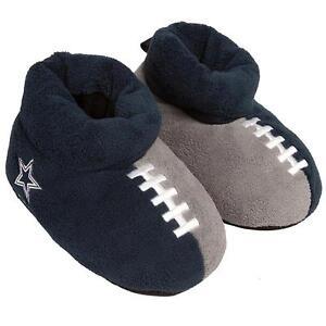 Dallas Cowboys NFL Boys' Blue Gray Football Slippers Size 10-11 - NWT