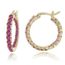 18K Gold Tone over 925 Silver Inside Out Genuine Ruby Hoop Earrings