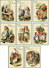 Vintage inspiried Alice in Wonderland small note cards tags ATC  s/8