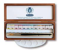 SCHMINCKE - HORADAM FINEST WATERCOLOUR PAINTS - 12 HALF PAN - WOODEN BOX