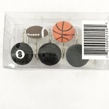 Sports Fanatic Shower Curtain Hooks Set of 12 New