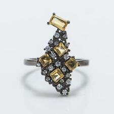 Stunning Natural 1.19ctw Citrine & Diamond Cut White Sapphire 925 Ring 3.2g