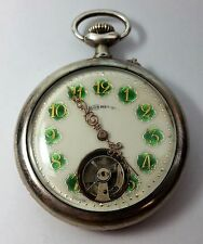 Vintage Rare Bonheur Brevet Honestus Enameled Dial Pocket Watch with Silver Case