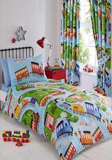 Cama individual cover set trenes Azul Rojo riel funciona signos pistas Kids Bedding