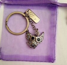 LITTLE OWL  KEYRING- CRYSTAL CHARM, STAINLESS STEEL