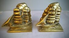 Great Vintage Cast Metal Bookends Golden Color Clipper Sailing Ships by Victor