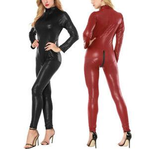 Sexy Womens Leather Bodycon Bodysuit Catsuit Jumpsuit Lingerie high elasticity