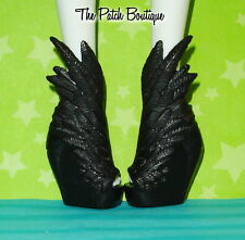 CUSTOM REPLICA SOLID BLACK FEATHER WING SHOES FITS MONSTER HIGH EVER AFTER DOLLS