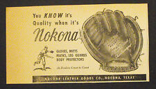 1960 Nokona Baseball Gloves-Mitts Pocket-Pro Line Chico Carrasquel Promo Ad
