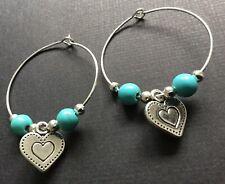 Bijoux interchangeable Love Heart charm And Turquoise earrings Boho festival