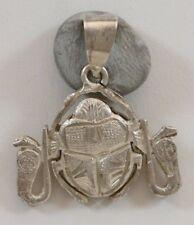 Vintage Silver Middle Eastern Arabic Egyptian Scarab Beetle Pendant 2.7g
