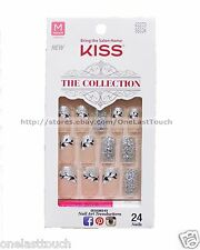 KISS 24 Glue-On Nails SILVER GLITTER+FLOWERS The Collection MEDIUM #62273 5/9