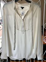 Ann Taylor LOFT Womens Top XL Ivory Long Sleeve Tie-Neck Semi-Sheer Blouse NEW