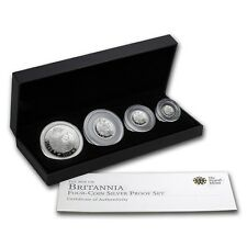 2010 GB 4-Coin Silver Britannia Proof Set (w/Box & COA) - SKU #58125