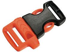 Whistle Buckle Clip ITW for 20 mm Webbing Strap, Orange / Black, Left Handed