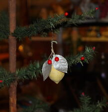 Antique Christmas Tree Ornament - Spun Cotton Lemon with Leaf ~ 1920 (# 6985)