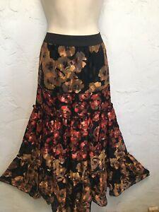 Soft Surroundings Fiametta Skirt 2X Maxi Multi Floral Burnout Tiered Floor Lengt
