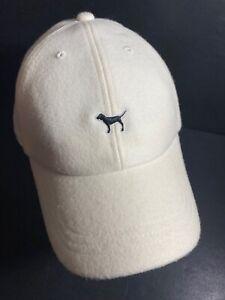 Victoria's Secret PINK Dog Puppy Logo Wool Baseball Hat Cap Adjustable Off White